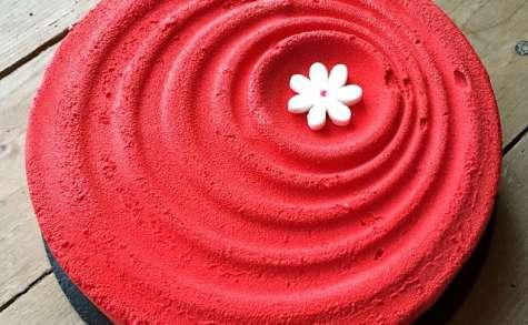 Entremets fraises, rhubarbe