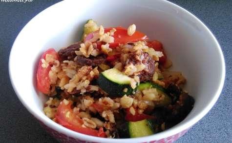 Poêlée aux céréales, légumes et chorizo croustillant