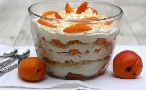 Trifle aux abricots, chocolat blanc et amandes
