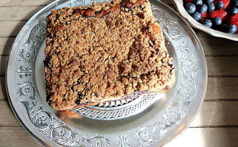 New-York style crumb cake aux myrtilles