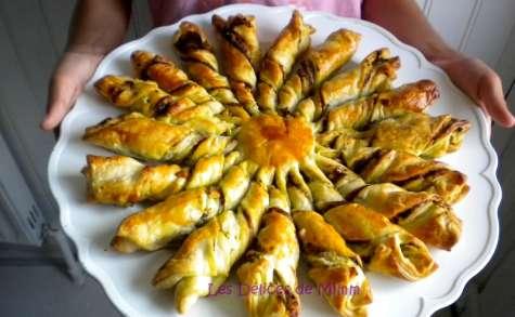 Soleil feuilleté pesto, pignons et parmesan