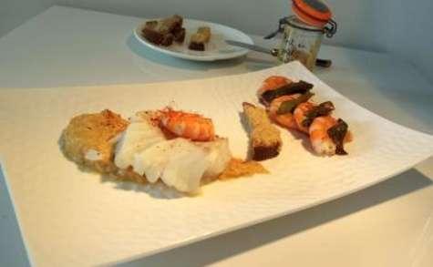 Cabillaud à la crème de poivrons aux crevettes