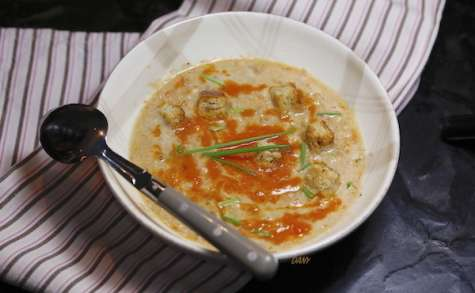 Soupe de saumon au coulis de tomate