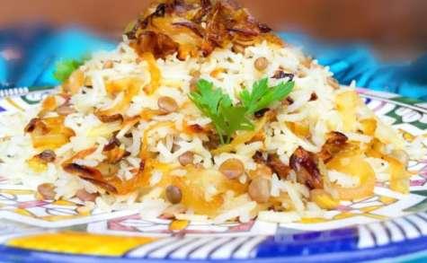 Mujaddara Riz aux Lentilles et Oignons Frits
