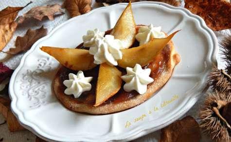 Tortas de aceite Inés Rosales aux poires rôties et crème de marrons de l'Ardèche