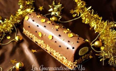 Bûche banane, cacahuète et chocolat