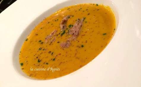 Velouté de potimarron bio au foie gras