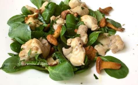Salade de lapin aux girolles et aux noisettes