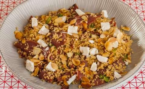 Taboulé au canard, tomates confites et amandes effilées
