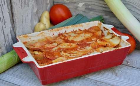 Tian de pommes de terre et poireaux