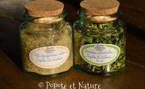 Sel parfumé gingembre citron et préparation aromatique pour la cuisine