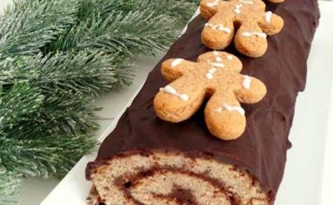 Bûche de Noël au pain d'épices et chocolat.