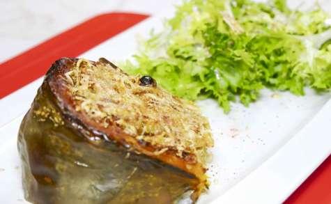 Courge bleue de Hongrie, farcie au quinoa et gratinée au four