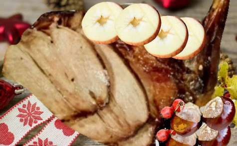 Cuissot de marcassin rôti aux marrons et pommes
