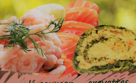Roulé au saumon et crevettes, parfums oseille et aneth