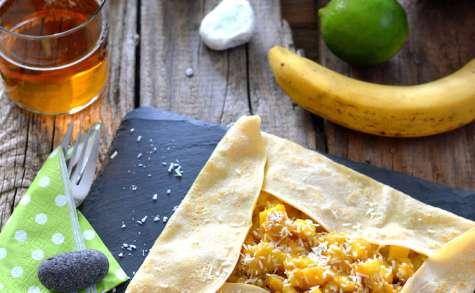Crêpes à la compotée de mangue, banane, citron vert