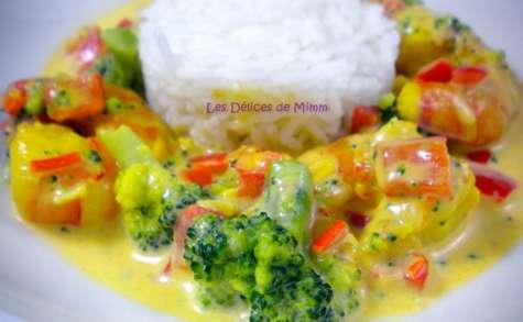 Gambas aux petits légumes et au safran