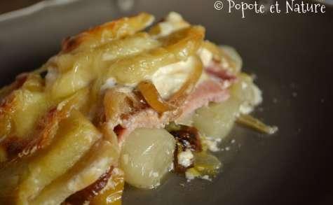 Gratin d'endives et de pommes de terre aux pommes