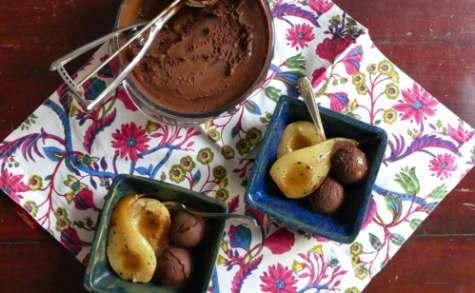 Sorbet au chocolat et poires au four