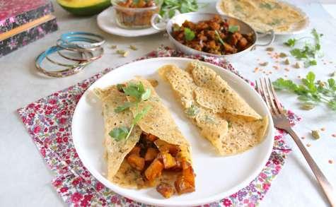 Rava dosa, crêpes indiennes salées (vegan, sans gluten)