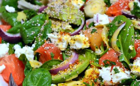 Salade aux fruits et légumes d'hiver, Feta et graines de Chia