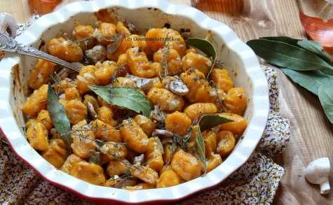 Gratin de gnocchis de butternut aux champignons