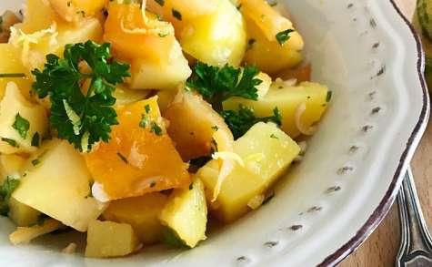 Salade de pommes de pomme terre au haddock fumé vinaigrette au citron tigré
