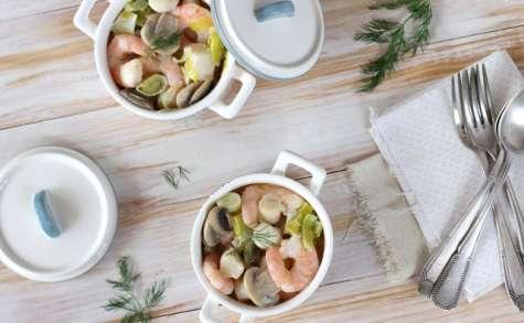 Blanquette de crevettes et Saint Jacques