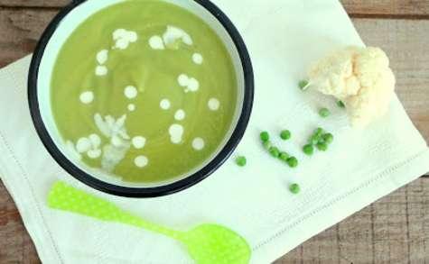 Soupe veloutée de petits pois et chou-fleur