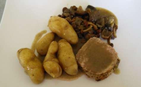 Rôti de porc moutarde et sa sauce forestière