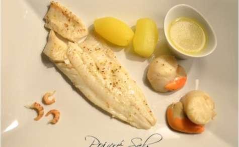 Filet de flétan et Saint-Jacques au sémillon sauvignon blanc