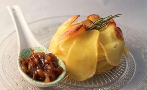 Gratin de pommes de terre et confit d'oignons