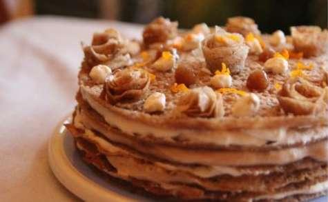 Gâteau de crêpes orange et crème de marrons