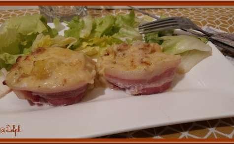 Purée de pommes de terre lardée