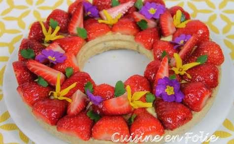 Tarte aux fraises, citron et noisette