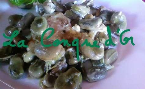 Oeufs mollets et fèves fraîches