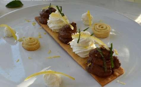Tartinette aux deux mousses, chocolat et citron