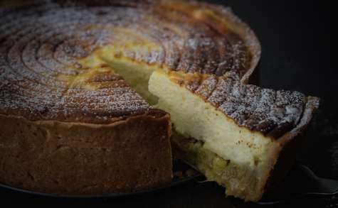 Käsekuchen, tarte au fromage blanc à la rhubarbe