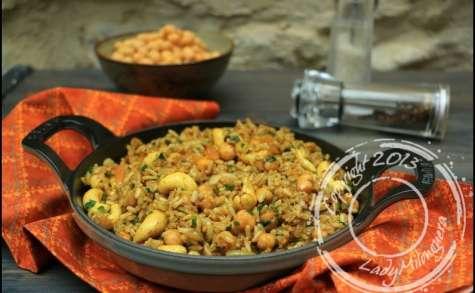Riz végétarien épicé aux pois chiches et noix de cajou