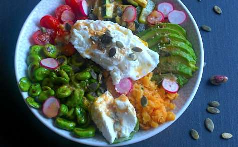 Buddha Bowl version green et son oeuf poché
