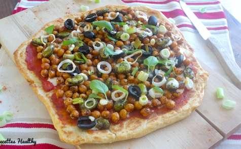 Pizza cheese naan végétarienne aux pois chiches