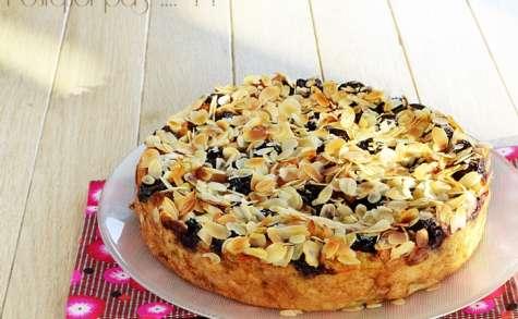 Pudding de pain sec, cerises, amandes