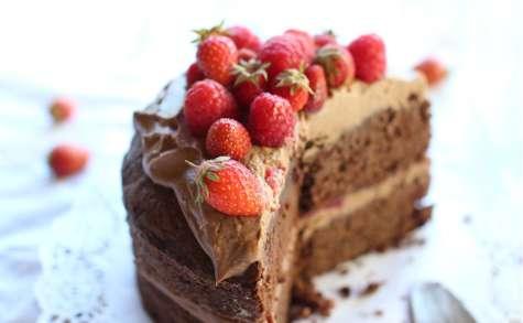Gâteau double chocolat au mascarpone et fruits rouges