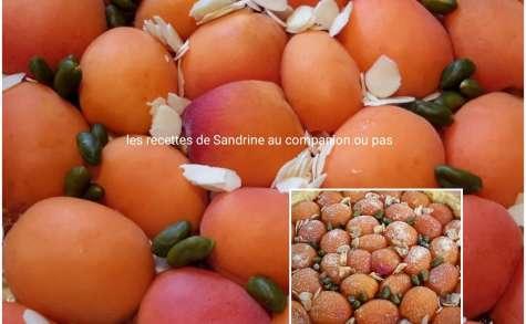 Tarte aux abricots, vergeoise brune, pistaches et amandes