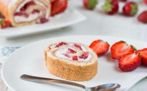 Roulé aux fraises et mascarpone