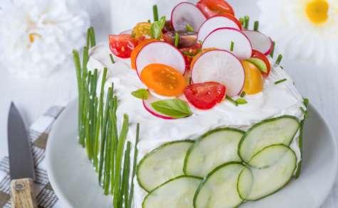 Sandwich cake au saumon fumé et crudités