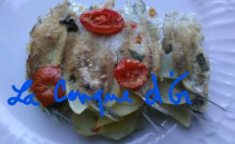 Gratin d'anchois, tomates et pommes de terre