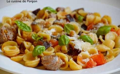 Orecchiette, saucisse et aubergine