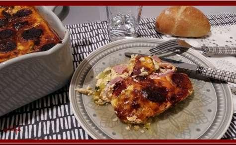 Clafoutis de Courgettes au Bacon et Chorizo