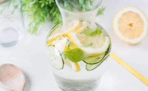 Detox water citron concombre et basilic